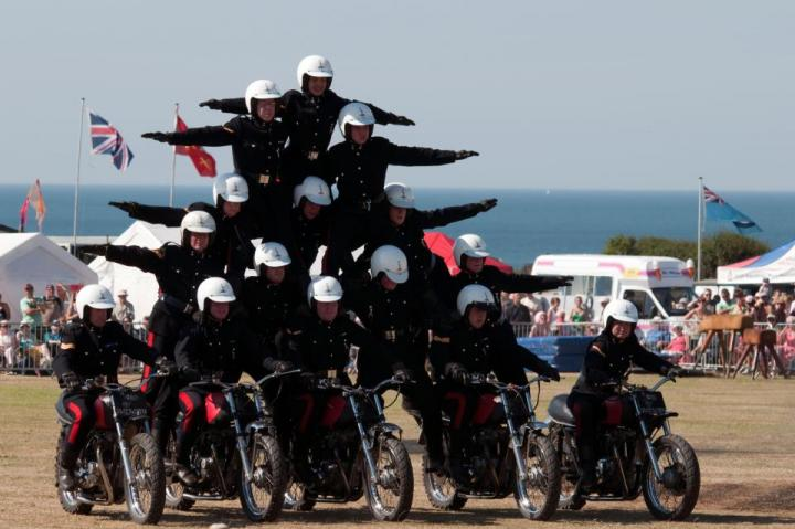 'White Helmets' motorcycle stunt