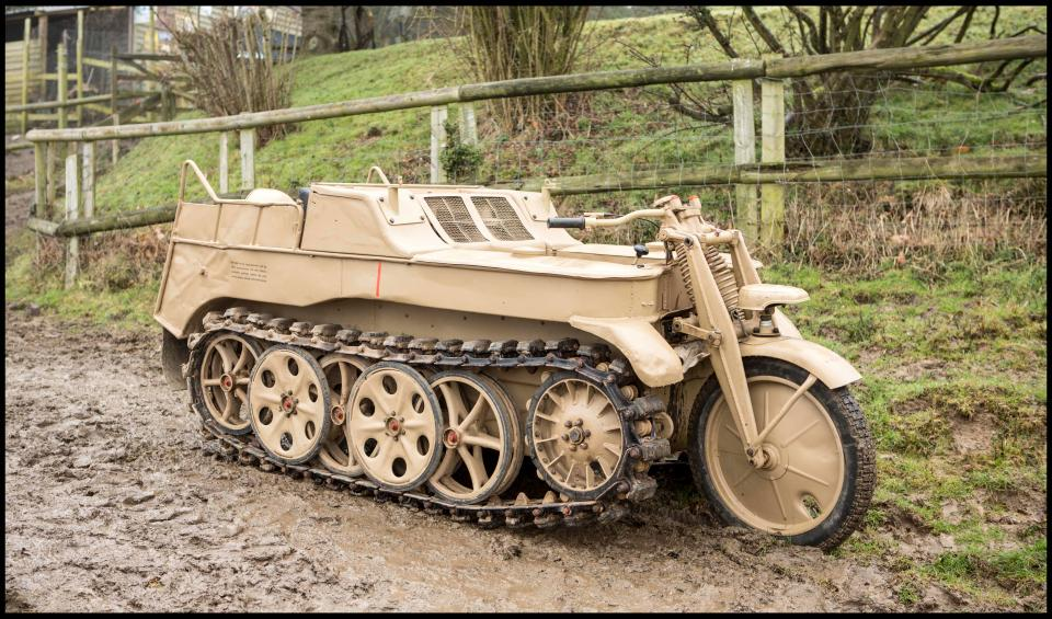 World War motorcycle-tank