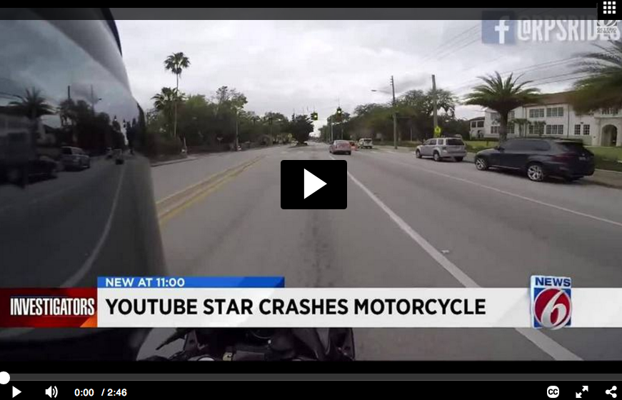 Youtuber Crashes His Motorcycle