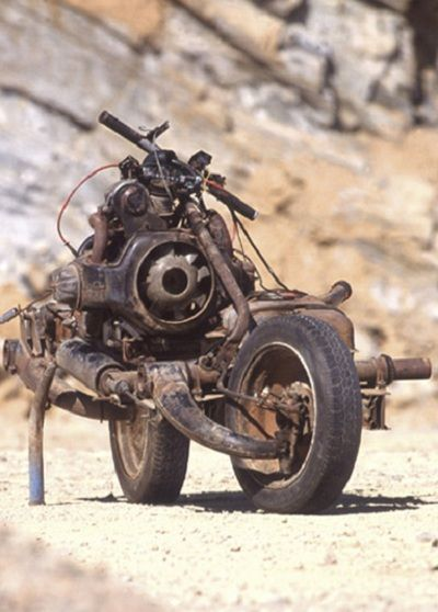 Emile Leray built a motorbike in desert