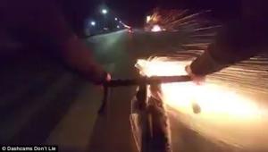 Cyclist Shoots Fireworks