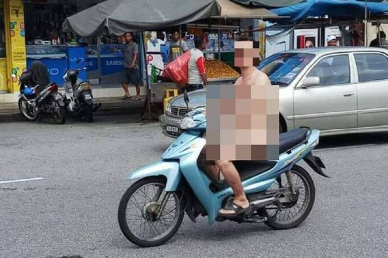 naked motorcyclist