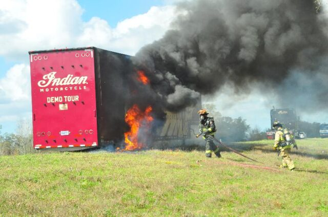 Indian's Motorcycles Go Up In Flames On I-10